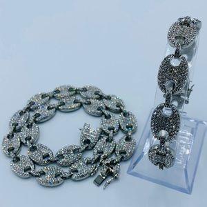 13mm Gucci Link Chain & Bracelet Set White Gold